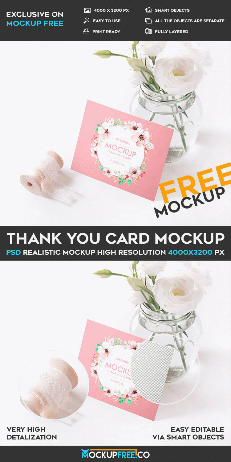 We Have Prepared For You This Beautiful And Tender Free PSD Mockup Thank Card Can Download It Absolutely Promotions Professional