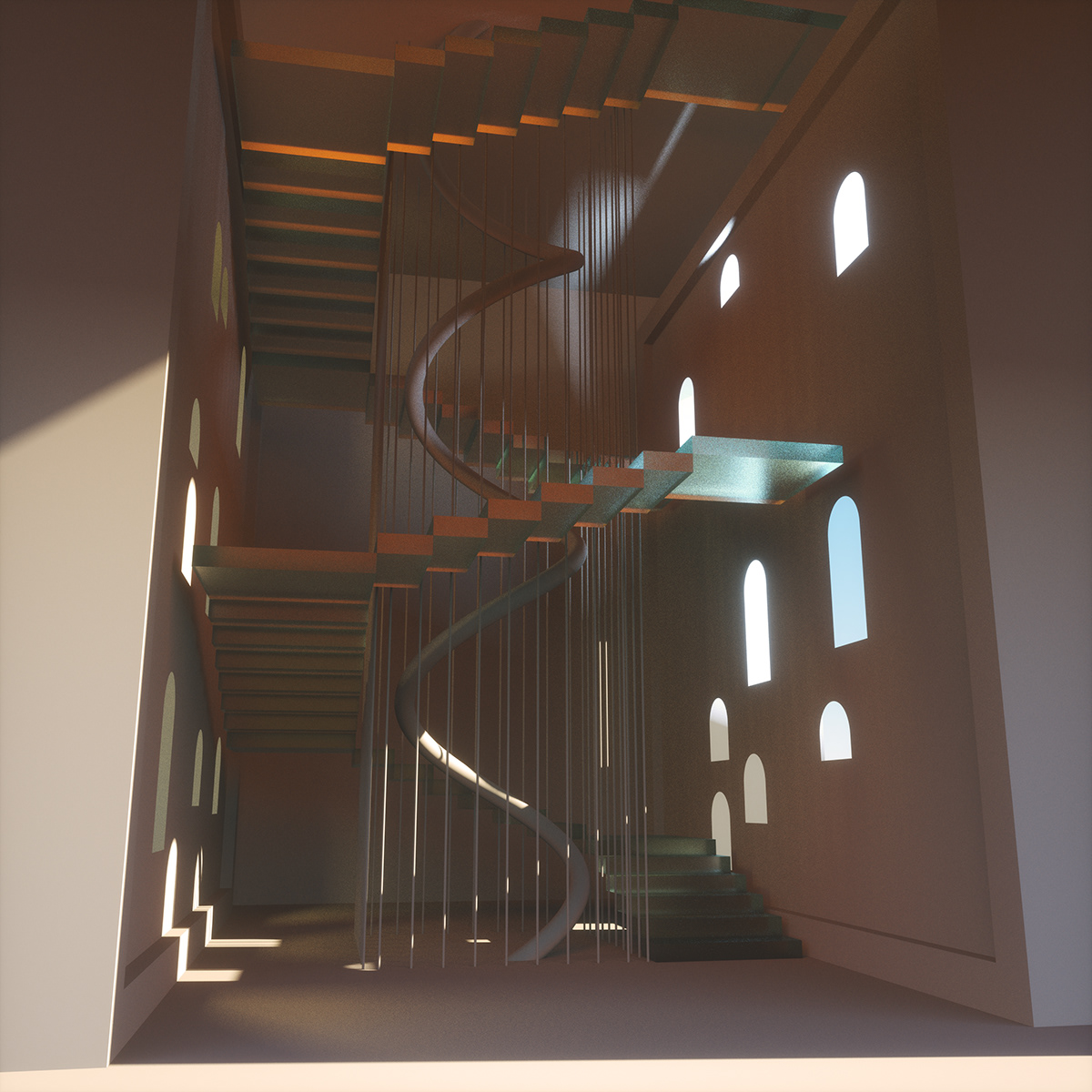 solid geometry Cinema 4d 3D ILLUSTRATION  sunlight Space  objects interieur