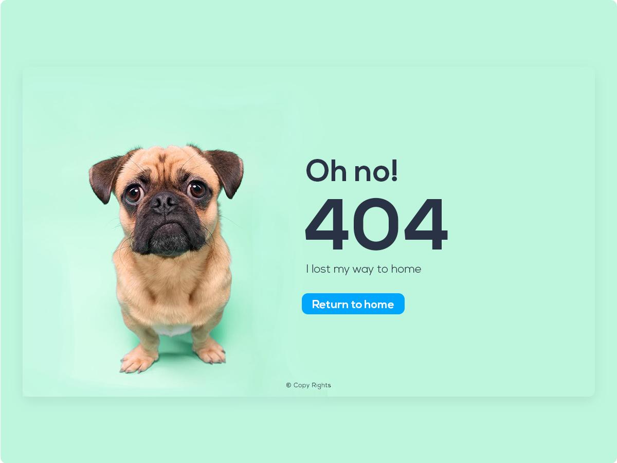 errorpage,design,Website,minimalist,flat,Pug,Fun,Webdesign,catche