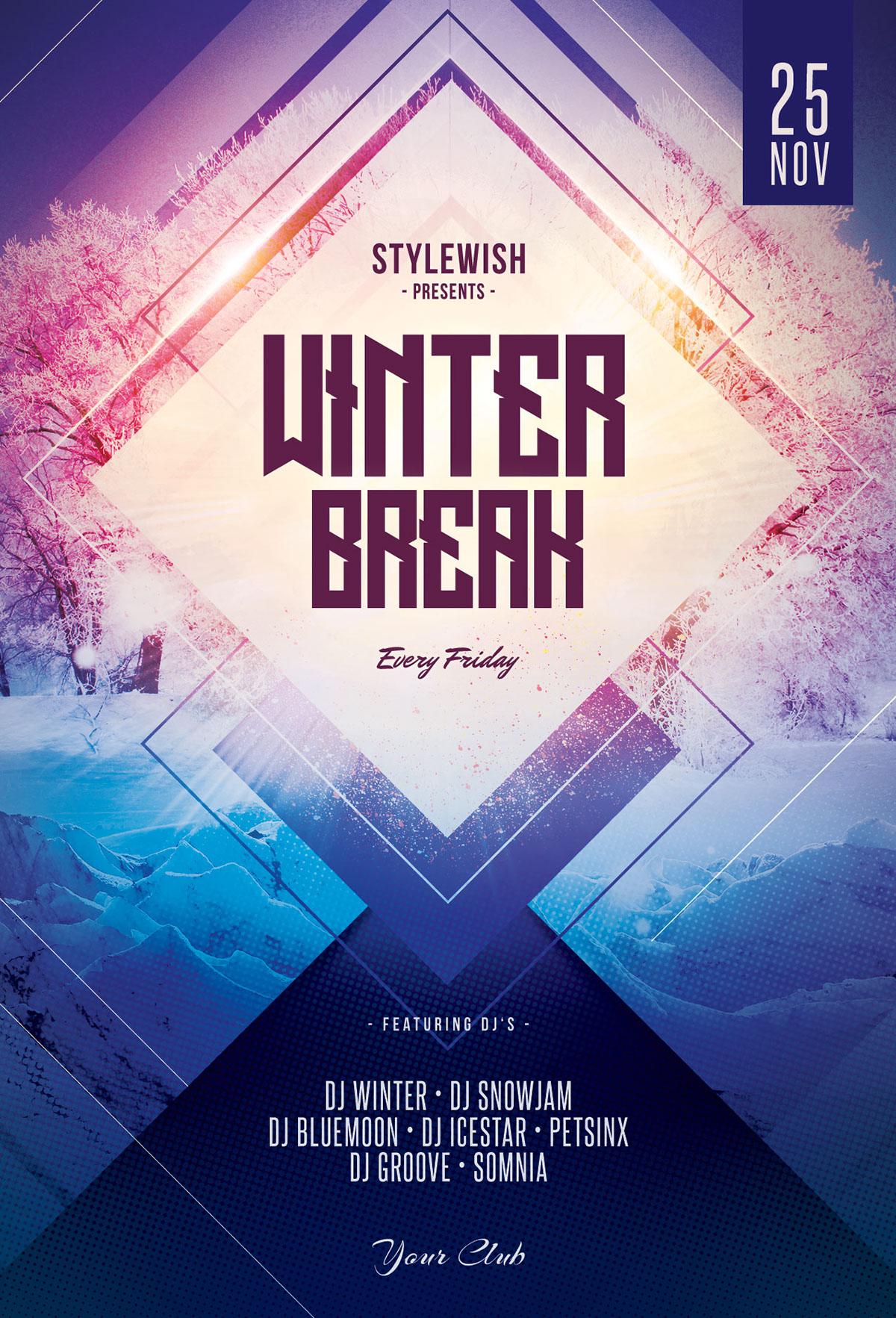 winter break flyer on behance