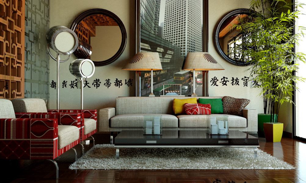 modern chinese living room on Behance