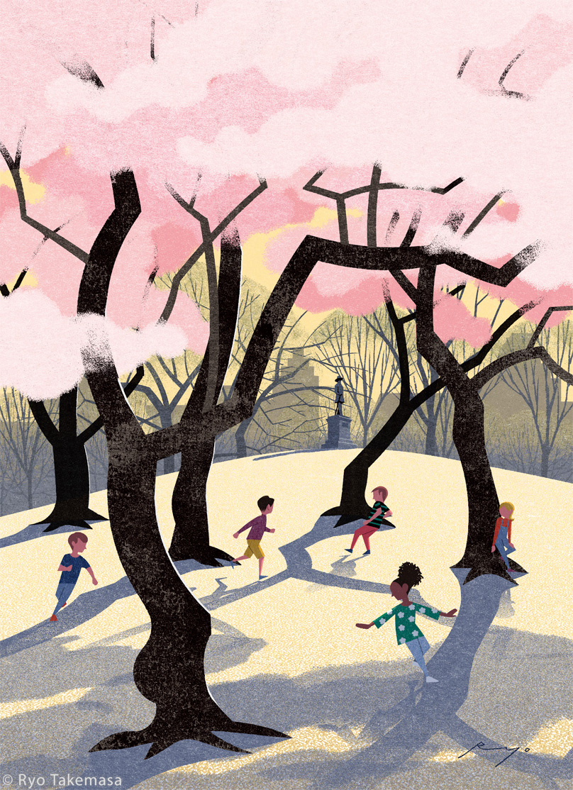Central Park Cherry Blossom Cherry blossoms children Landscape New York NY spring The New Yorker