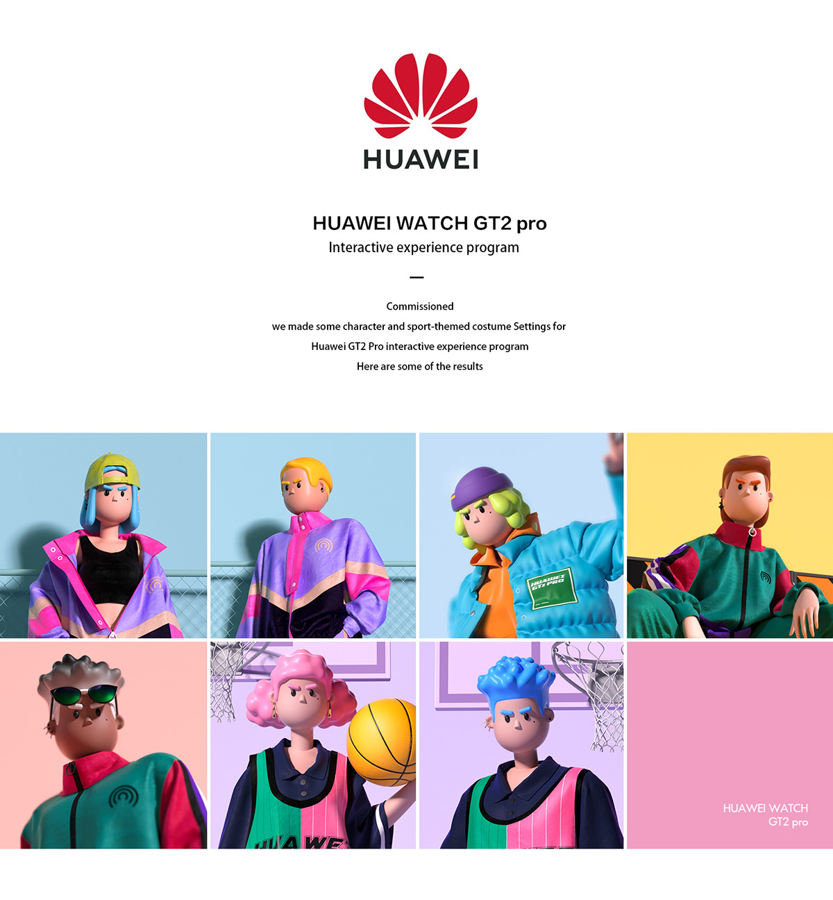 3D c4d Character design  clothing design huawei illustrations IP
