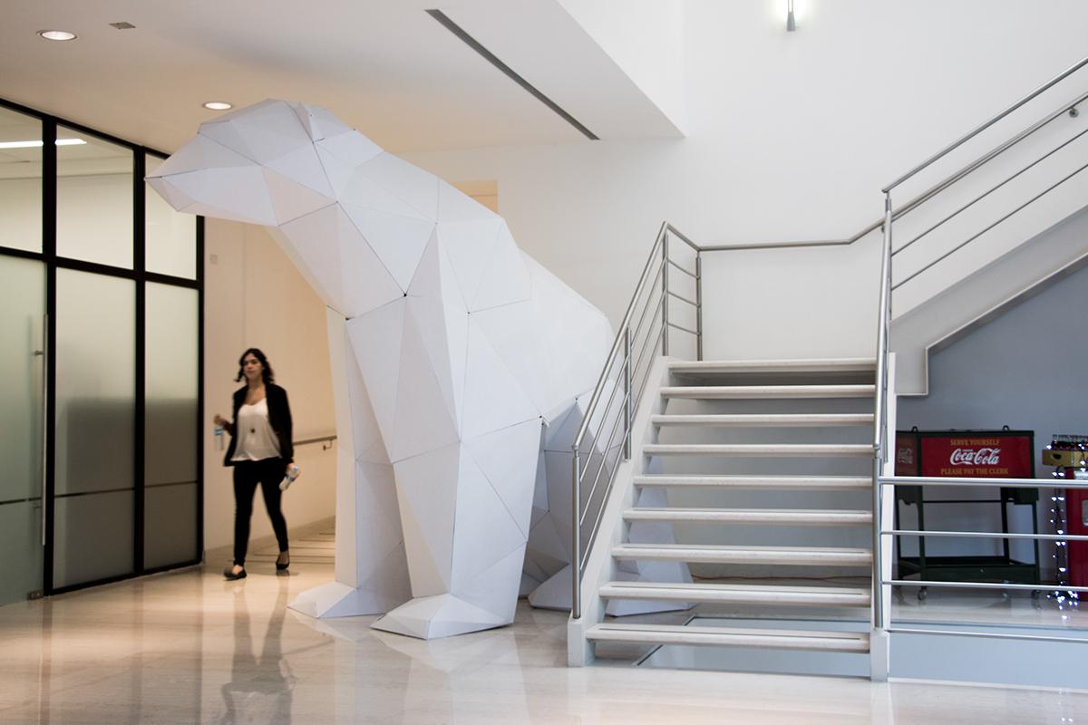 bears polar cardboard coke cocacola craft design installation