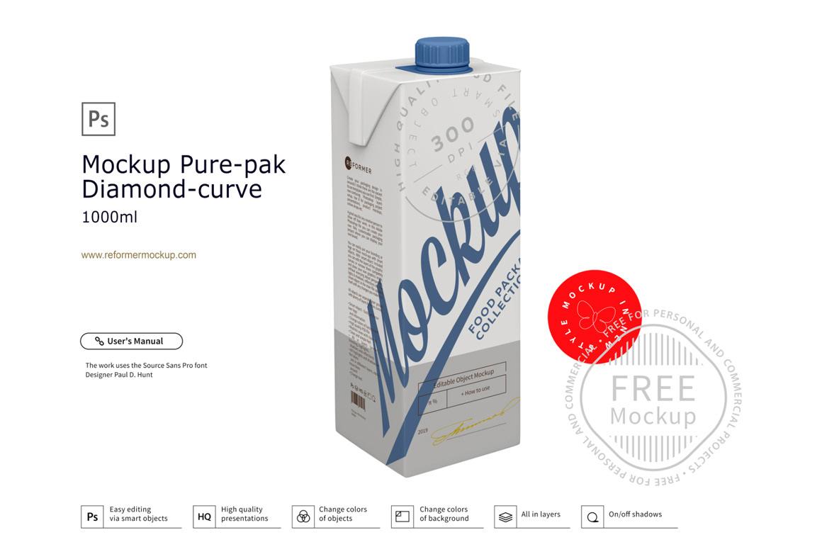beverage box carton drink milk mock-up package Packaging product freebie mock-up