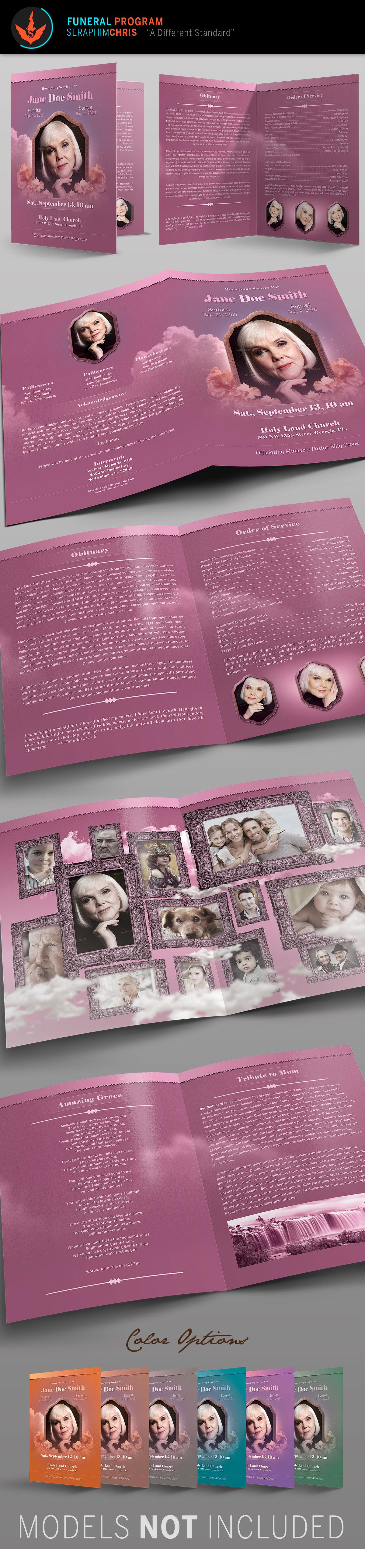 funeral program vintage Memorial Booklet contemporary bulletin pink Bi-fold obituary photoshop template