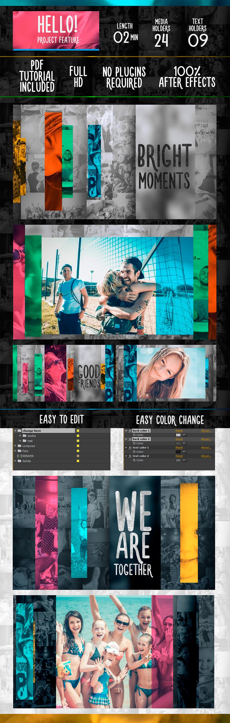 现代化彩色线移动滚动标题幻灯片相册视频AE模板 Videohive Slide Color Line