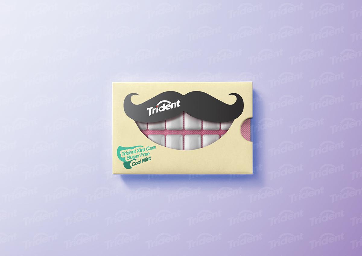 Adobe Portfolio Trident chewing gum sugar-free smile Mouth lips interactive teeth tooth chewing gum gums die-cut Window