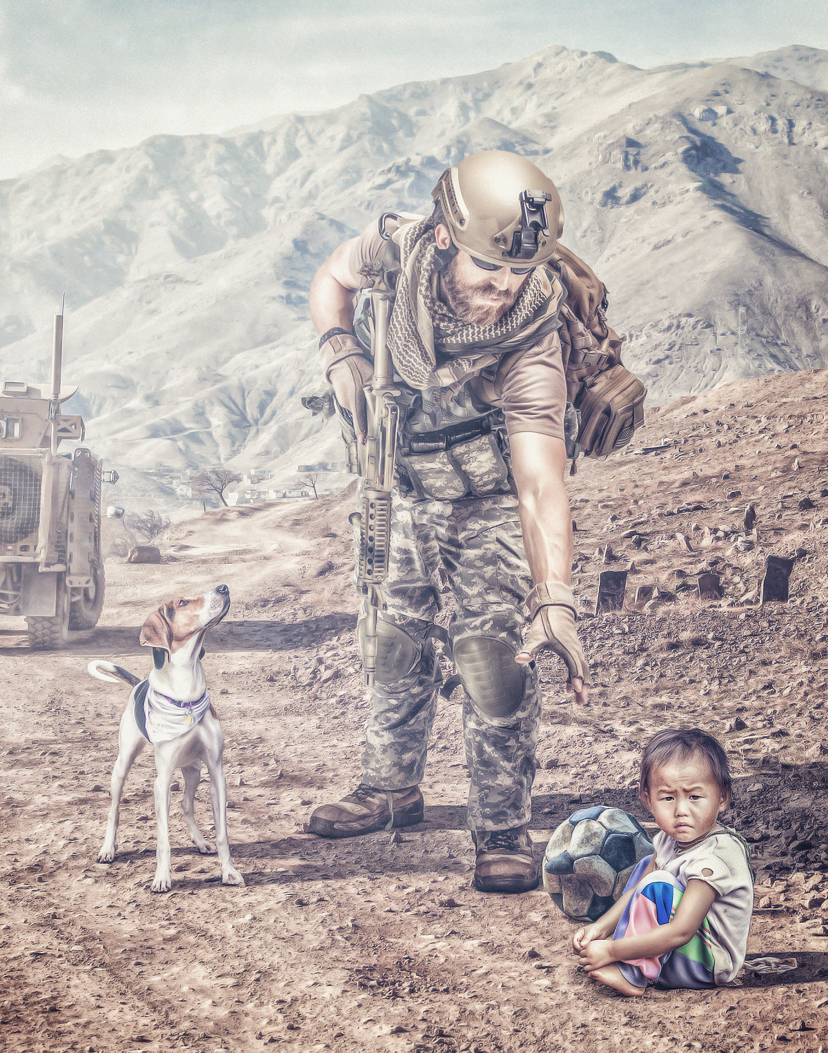 soldier child dog desert Vehicle ball compositing PS photoshop