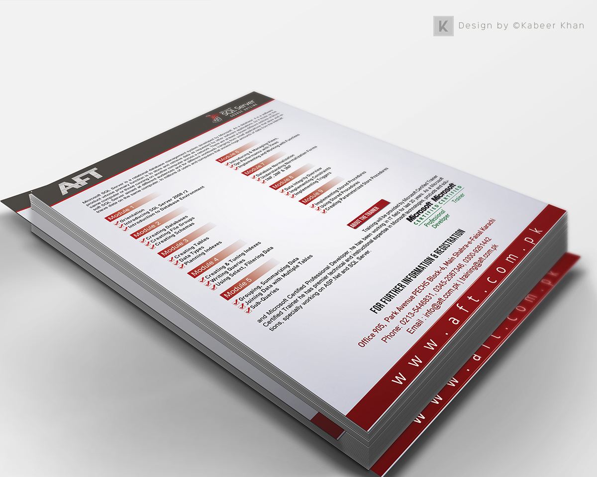 flyer design microsoft courses on behance flyer design for microsoft sql server 2008r2 course