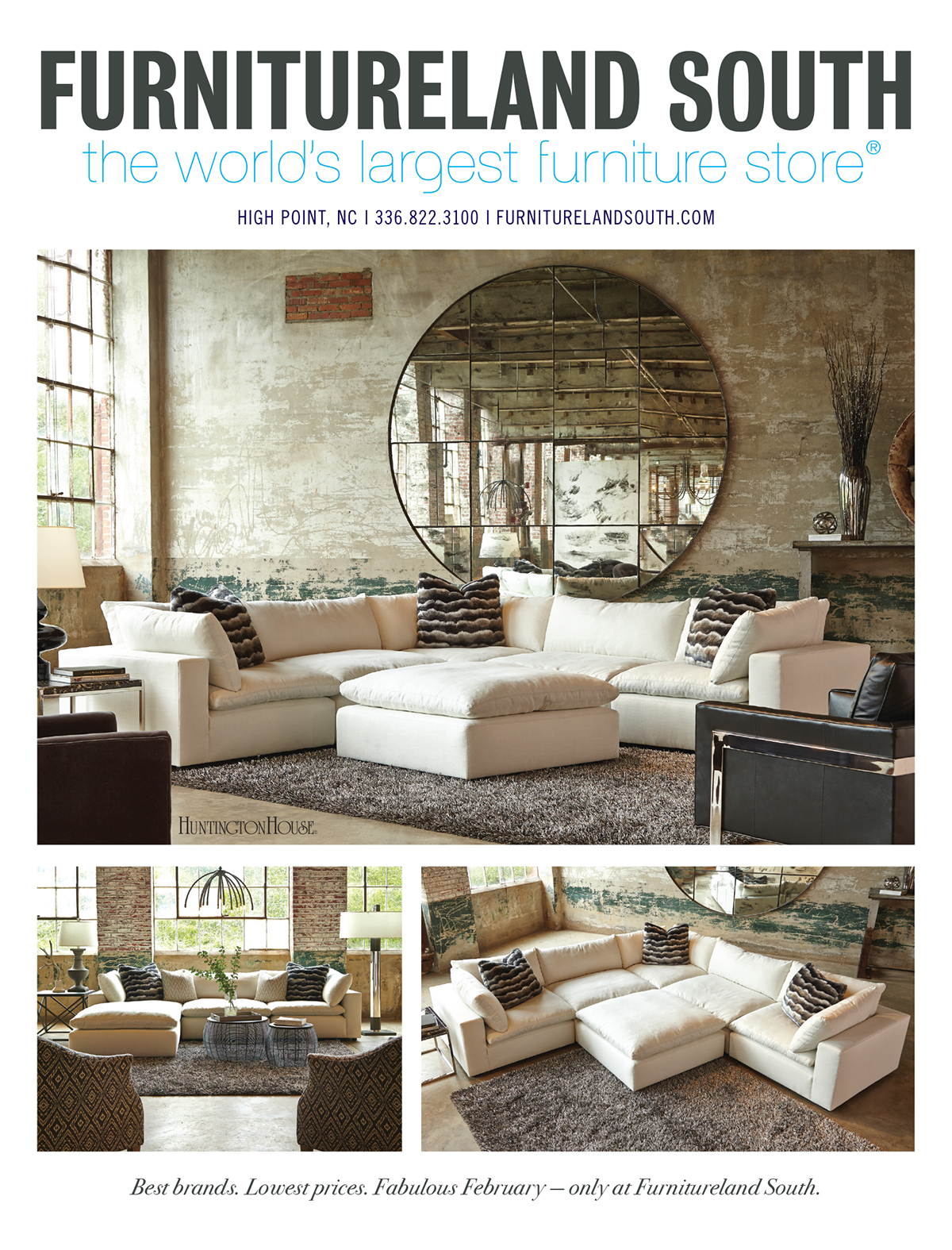 Print advertising for furnitureland south on pantone Furniture land south