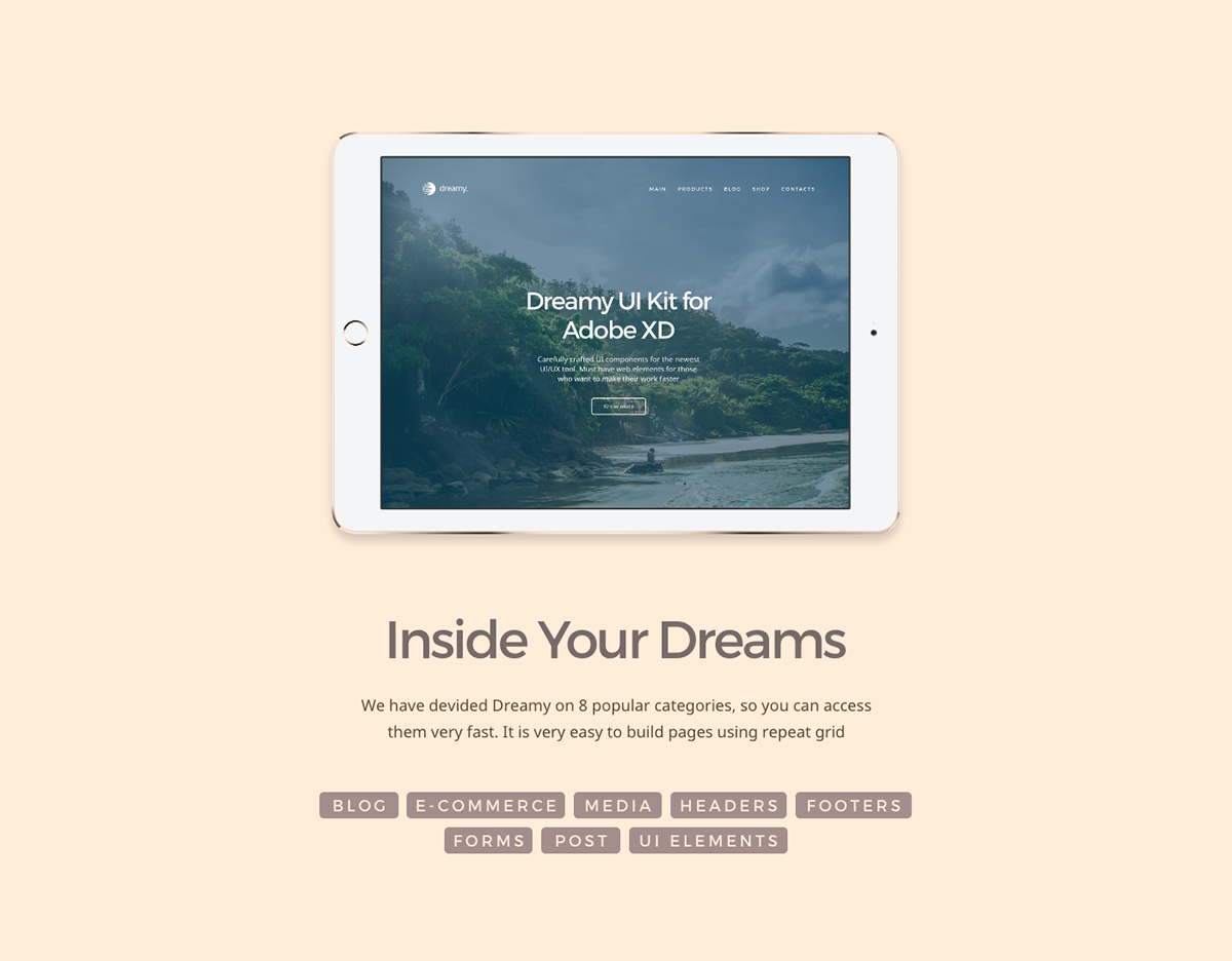 Dreamy UI Kit for Adobe XD on Student Show