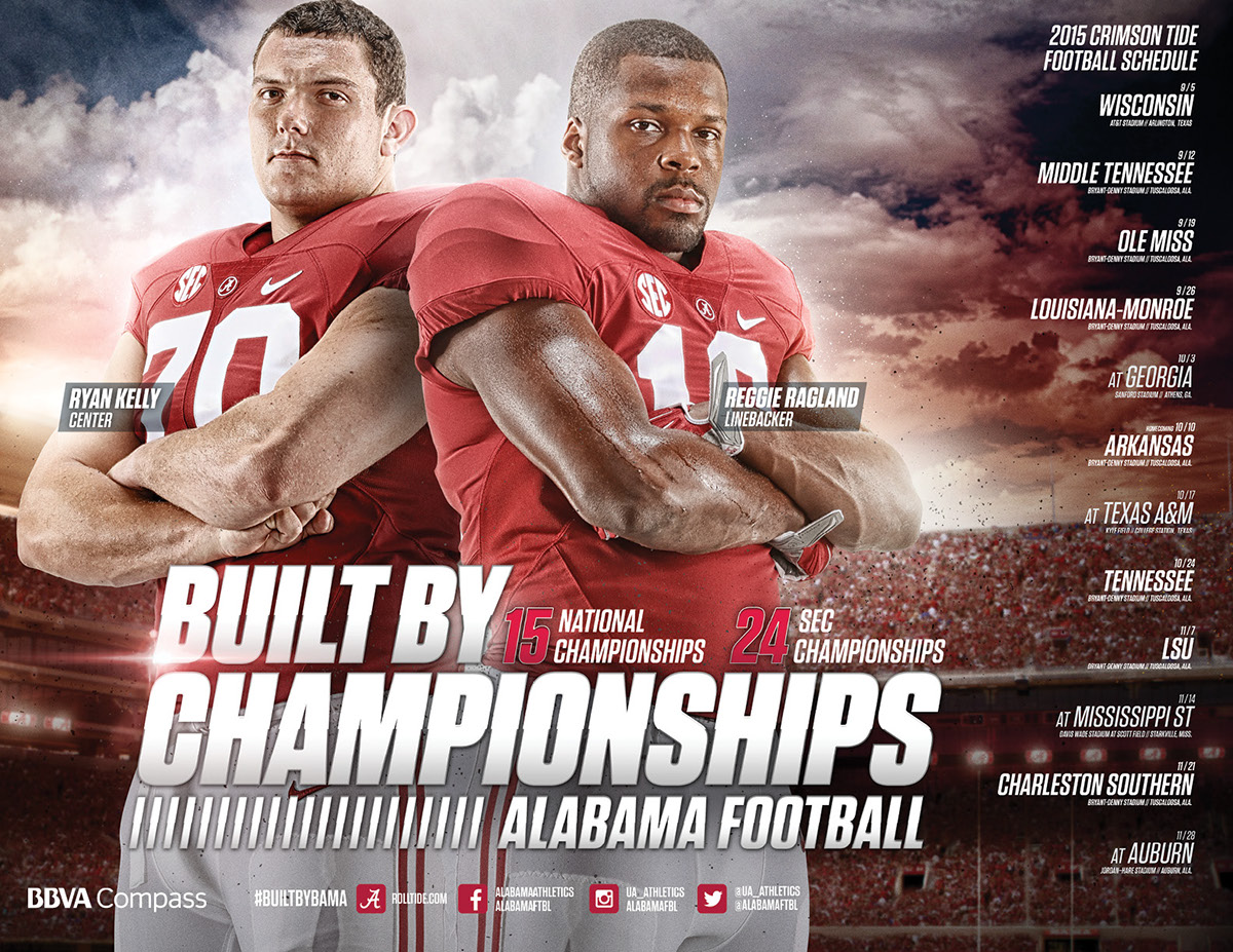 2015 alabama crimson tide schedule poster on behance