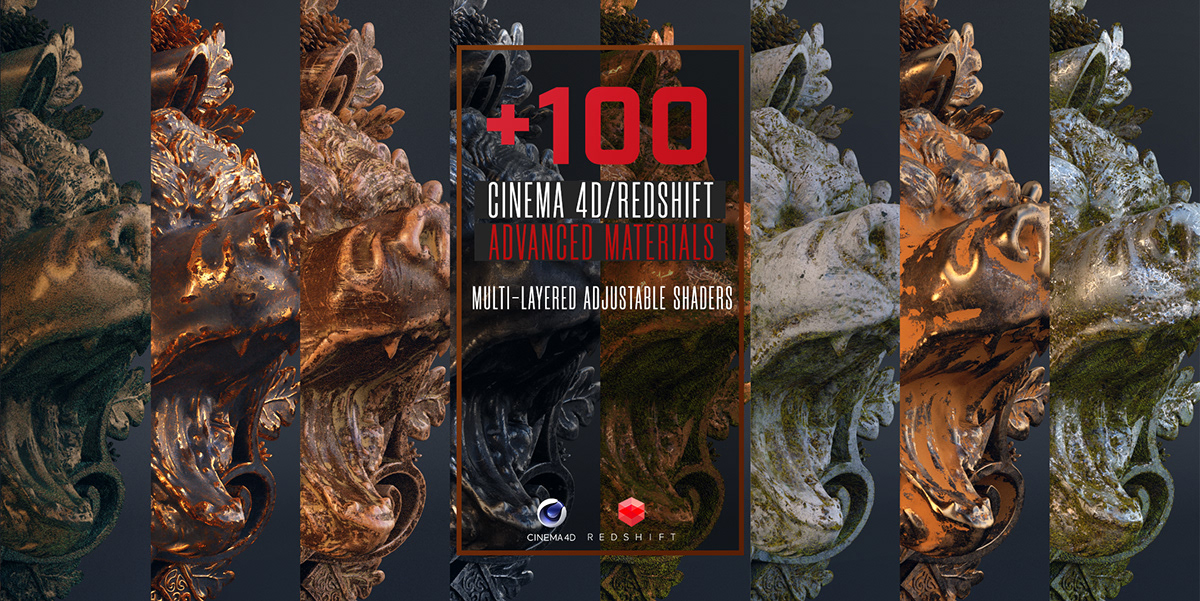 100 REDSHIFT/C4D MATERIALS on Student Show