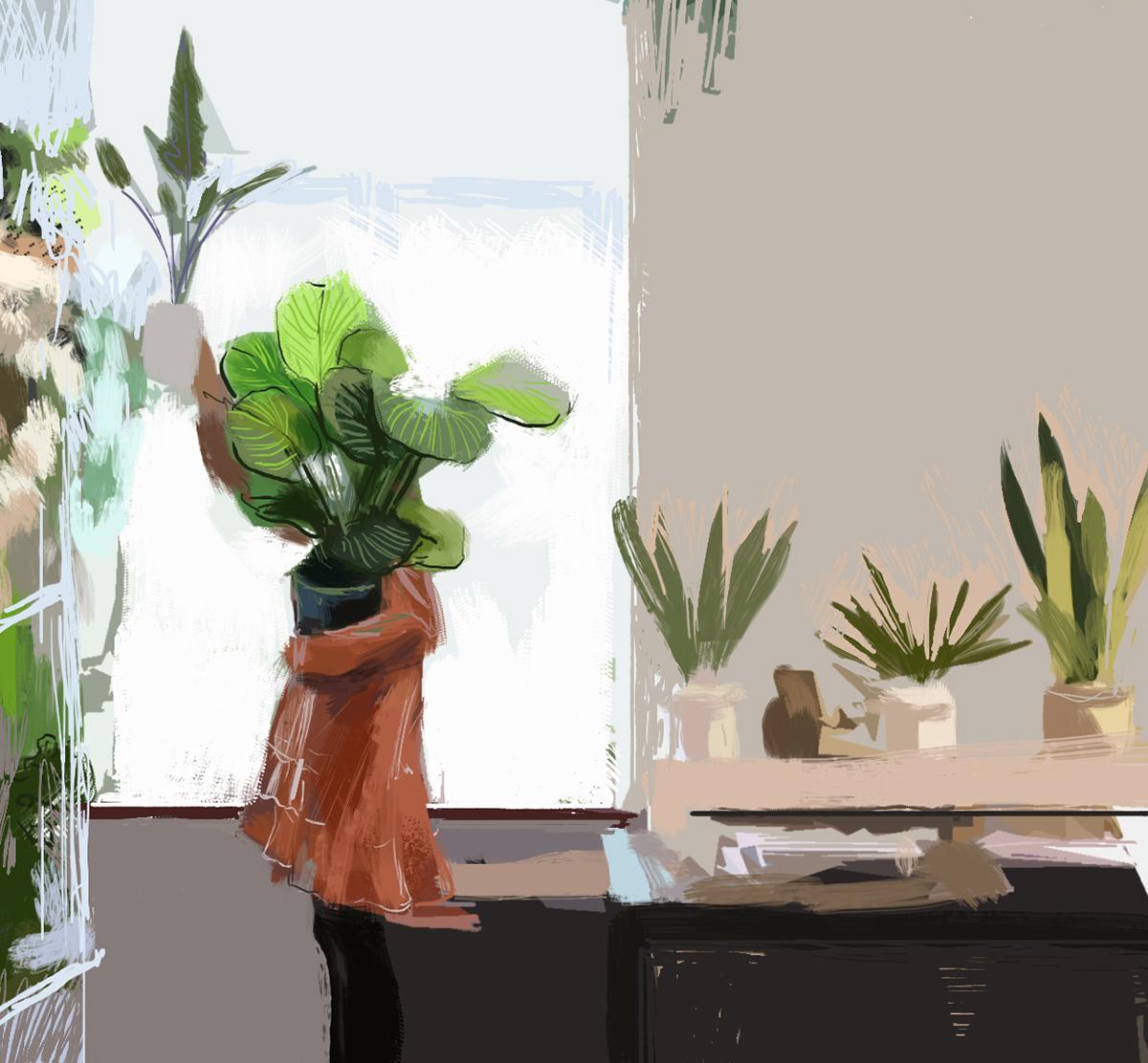 Plants Digital Painting On Behance