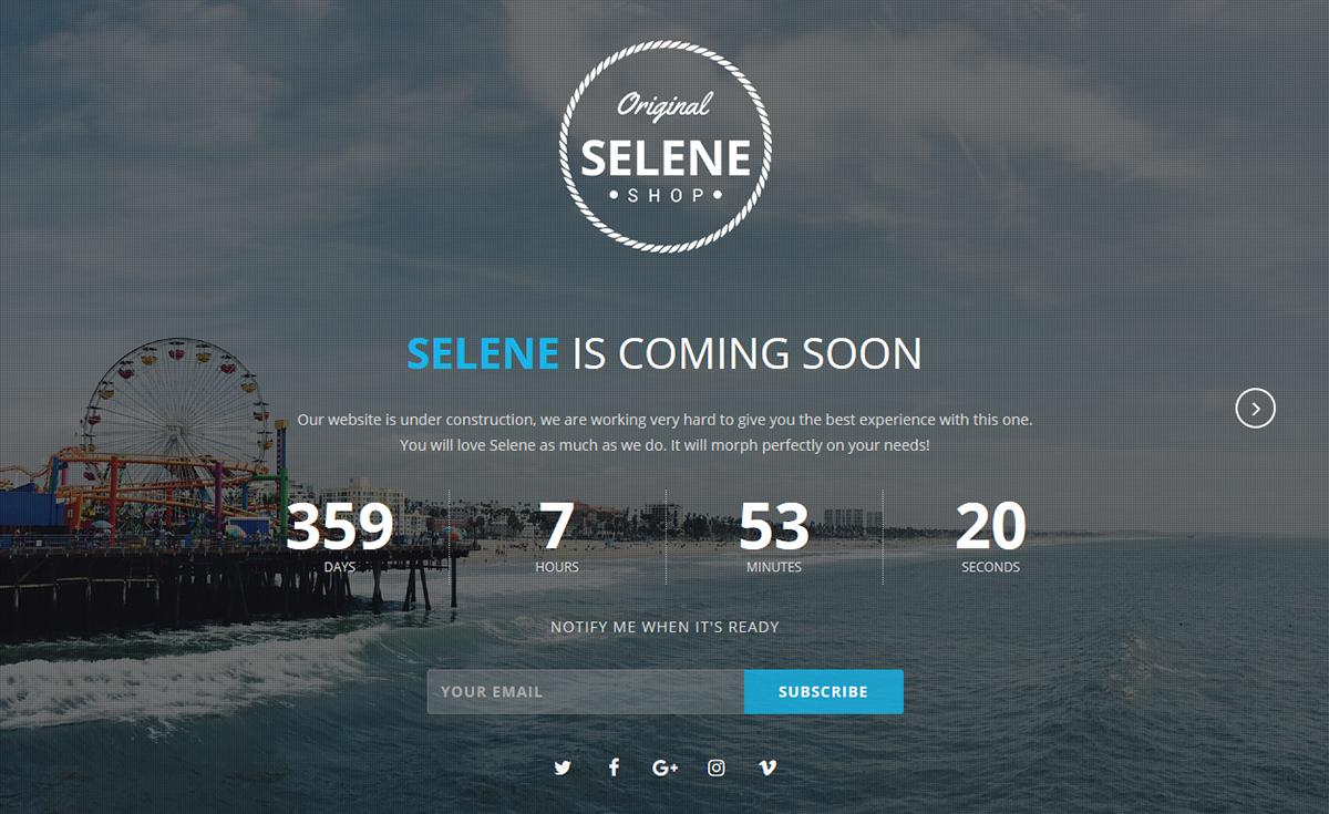 Selene Responsive Coming Soon Template On Behance
