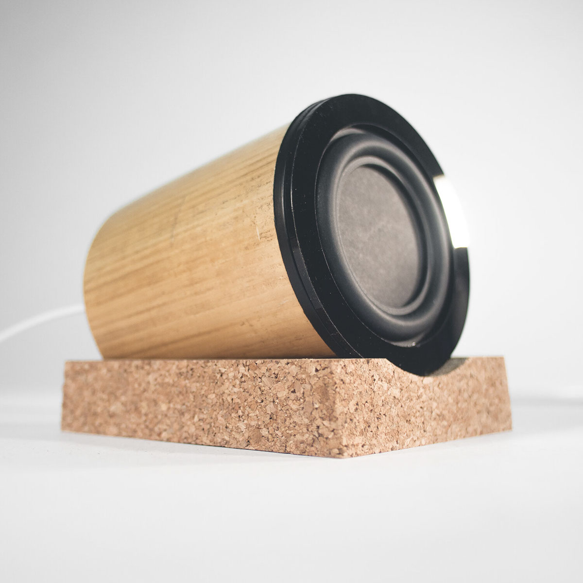 bamboo cork industrial product design manufacturing prototype concept 3D blender Fusion360 model speakers Audio sound