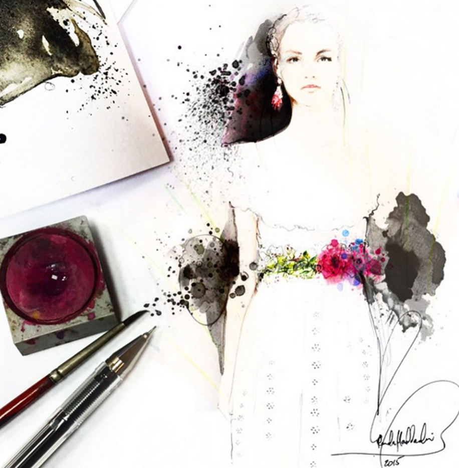 fashion art fashion illustration illusration valentino Maison Valentino roberto cavali runway portrait faces sketch