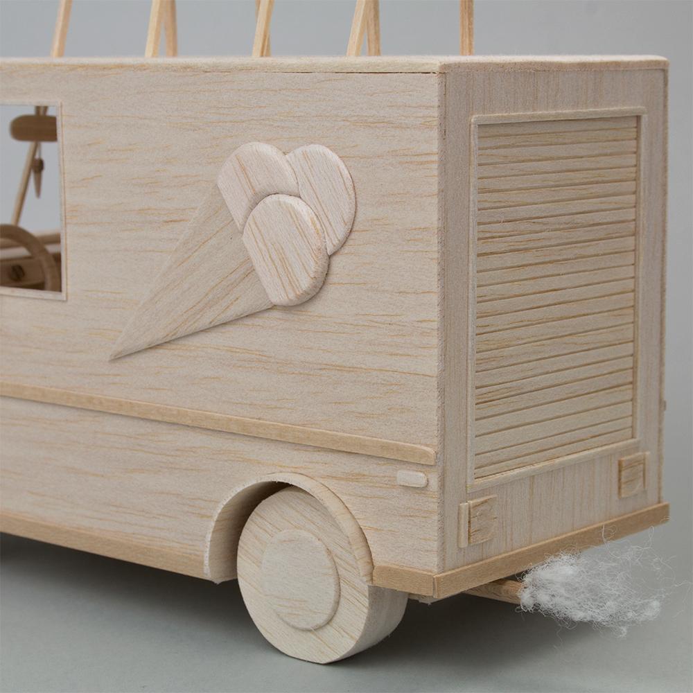 Balsa wood Miniature sculpture Truck ice cream Van car craft
