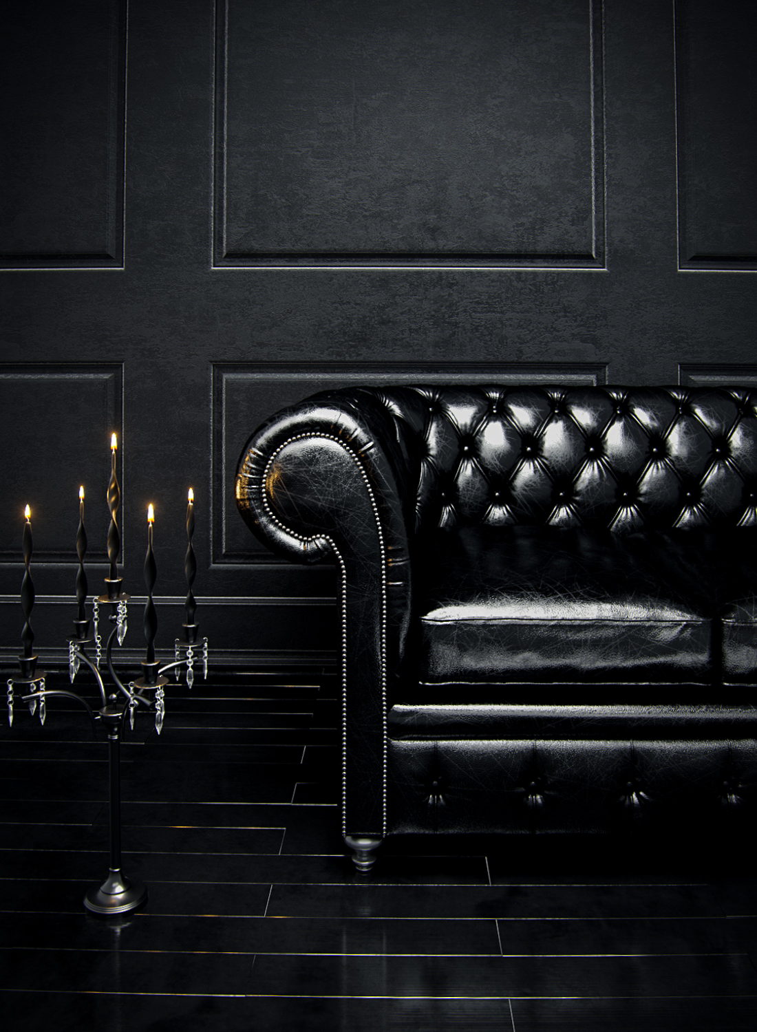 Black Chesterfield Sofa On Behance