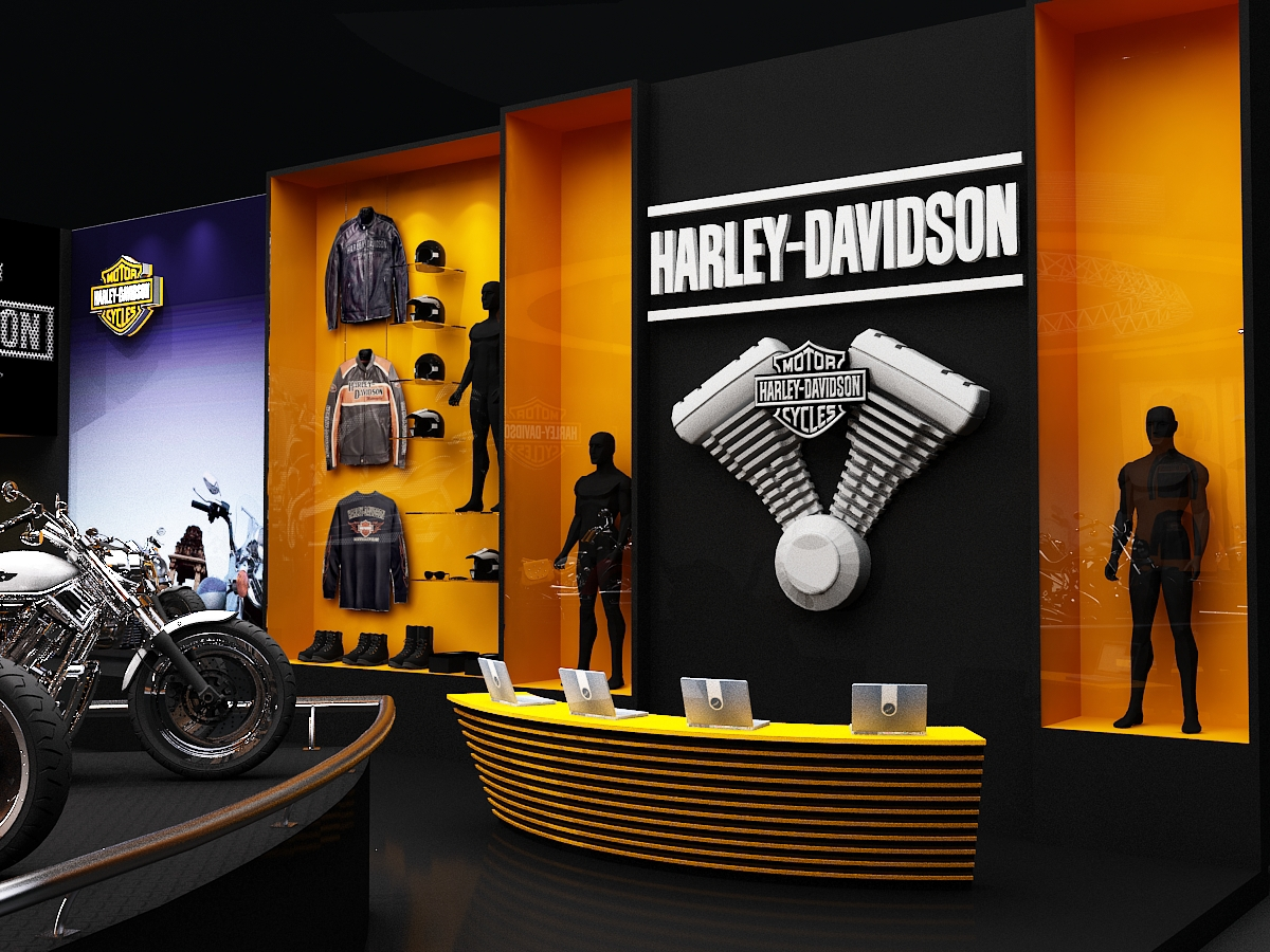 Exhibition Stall On Behance : Harley davidson auto expo exhibition stall design on behance