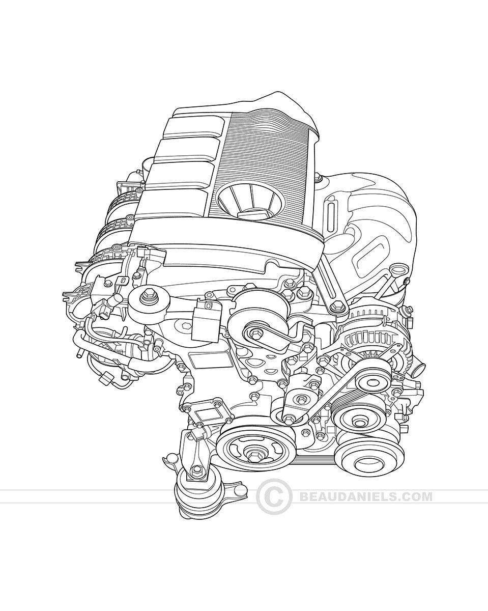 Blueprint Style Gneric Car Cutaway Engine.