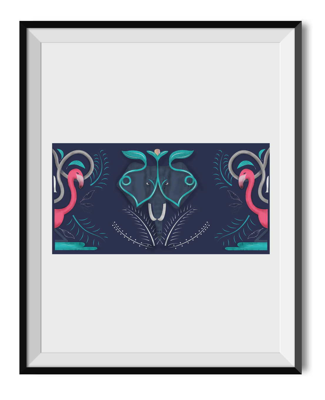 pattern design animals plants elephants flamingos wildlife Love strong pink