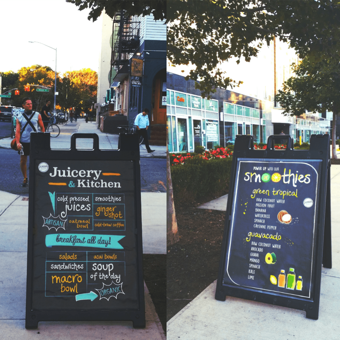 Board menu poster restaurant sidewalk sign