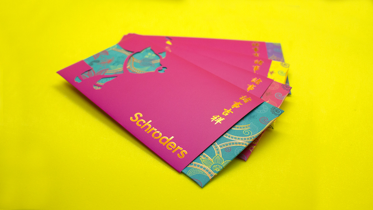 angpow branding  chinese new year finance game design  ILLUSTRATION  Interaction design  print design  Red Packet Schroders