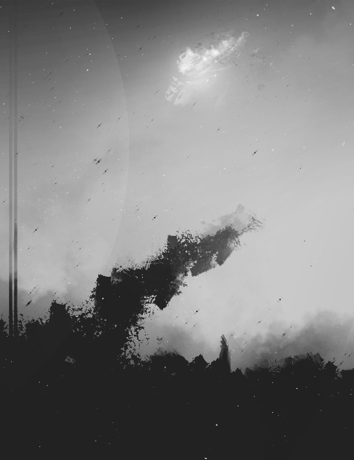 Landscape monochrome black and white Sun DISTORTED dust stars galaxy dark empny lonely pessimistic