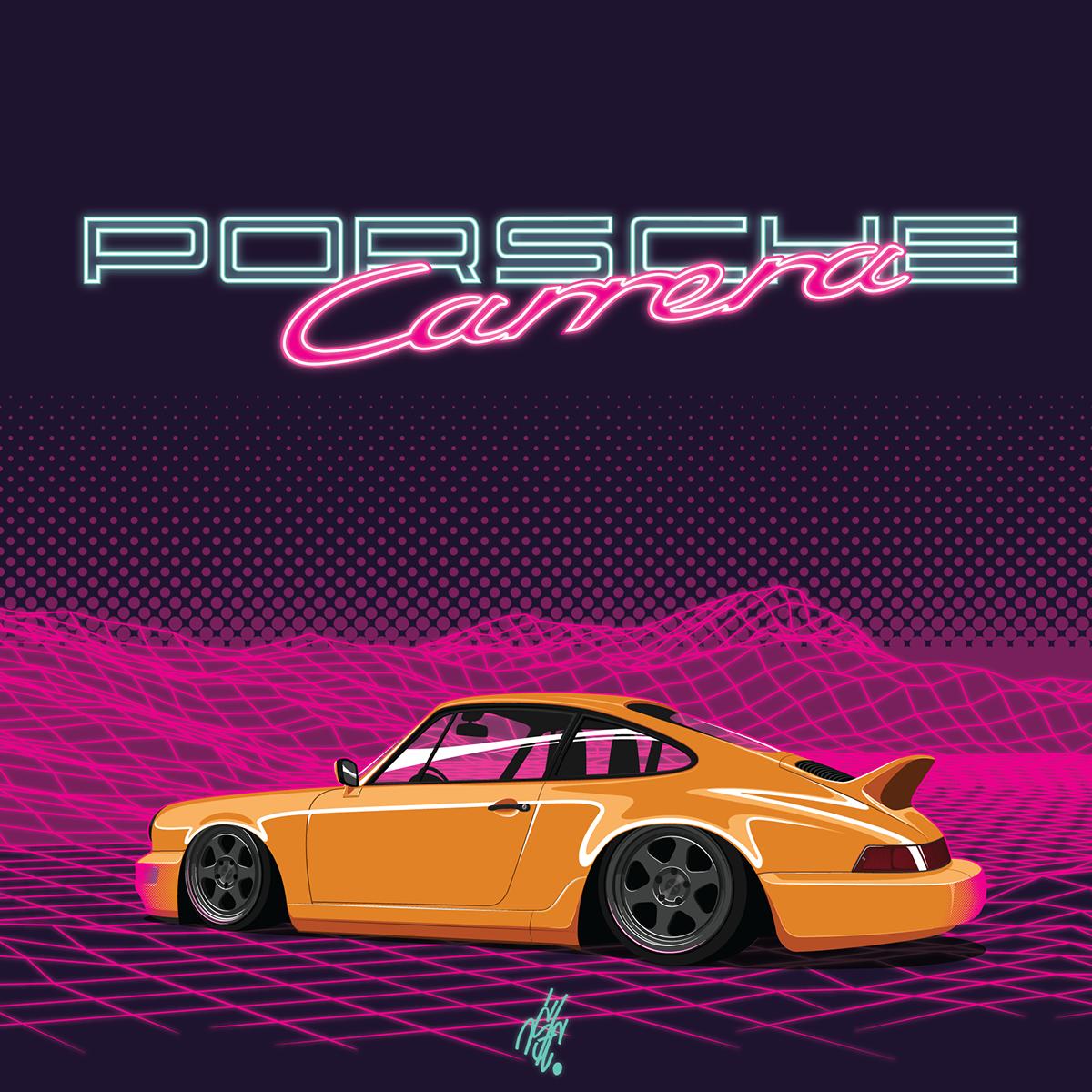 Neon Midnight Porsche 911 (964) on Behance