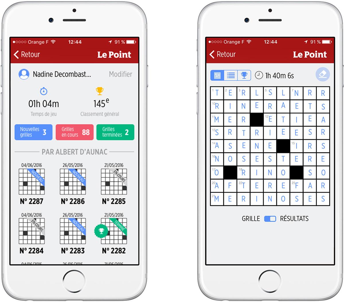 Le Point  app UI ux Appdesign