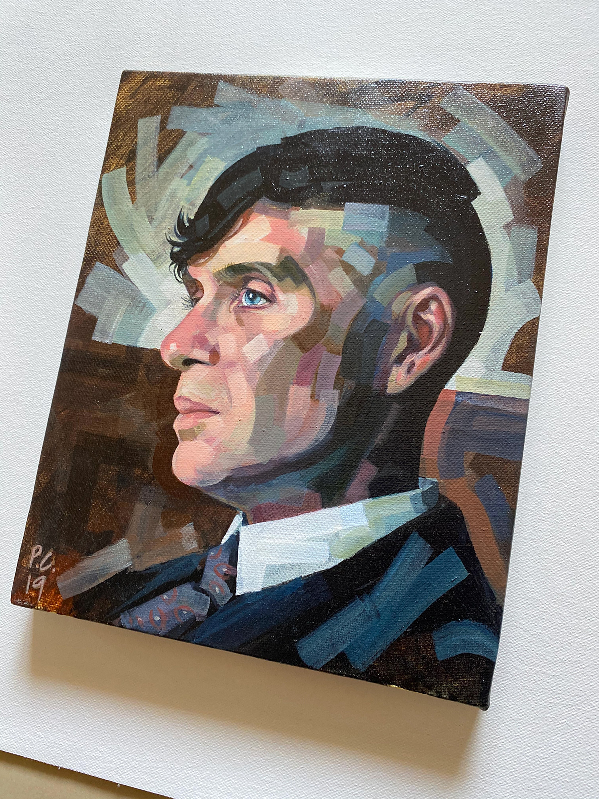 acrylic painting art brushstrokes Drawing  ILLUSTRATION  painting   Peaky Blinders portrait portrait art Thomas Shelby
