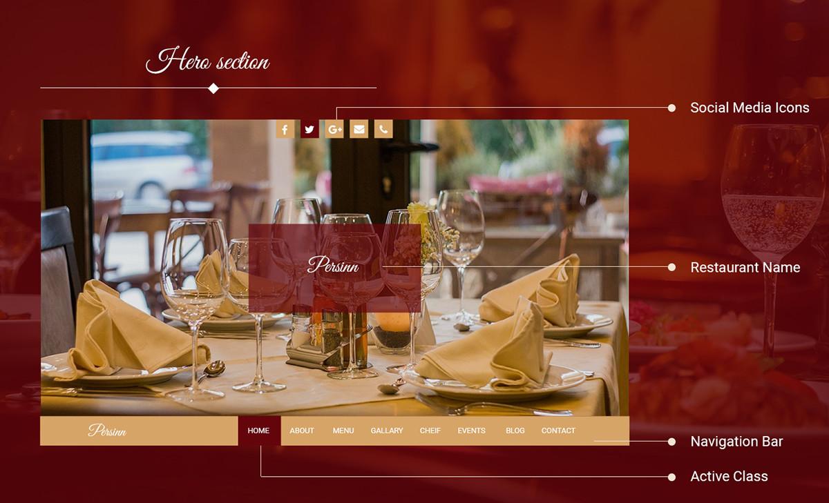 Persinn A Complete Web Template For Restaurants On Student Show