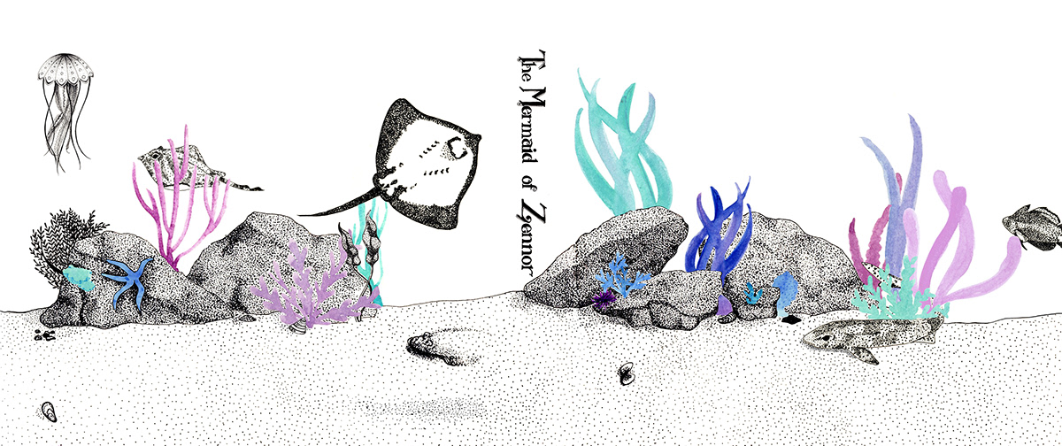 The mermaid Zennor watercolour book cover stippling