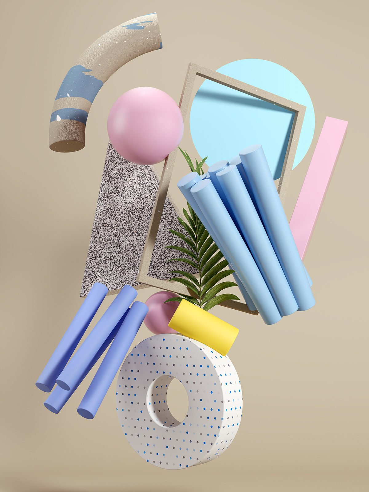 Shapes and objects with different textures. Background image with colors.
