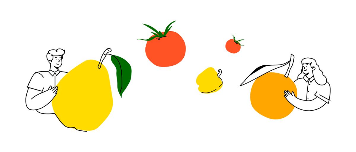 Character design  food illustration organic illustration web illudtration веб иллюстрации иллюстрация food market Fruit vegetables