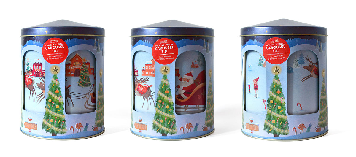 m and s christmas tree biscuit tin