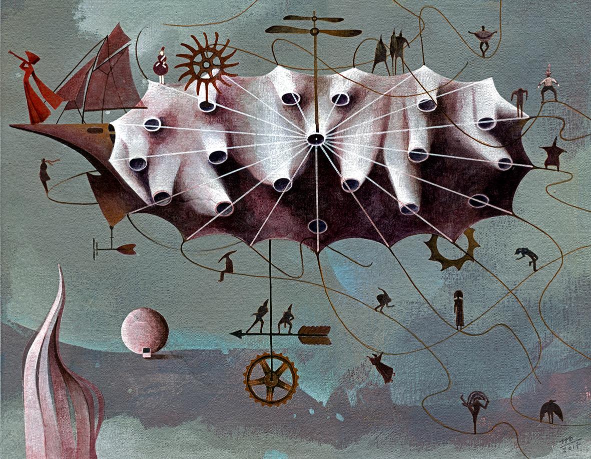 ILLUSTRATION  imagination fantasy wind fairytale painting   fine art acrylic Magic   surreal