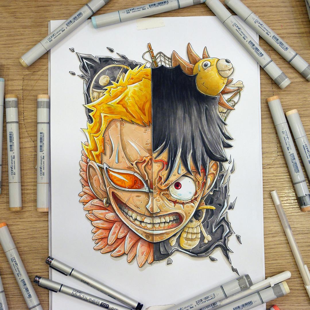 One Piece Art: Doflamingo Vs Luffy Mashup : A One Piece Fan Art On Behance