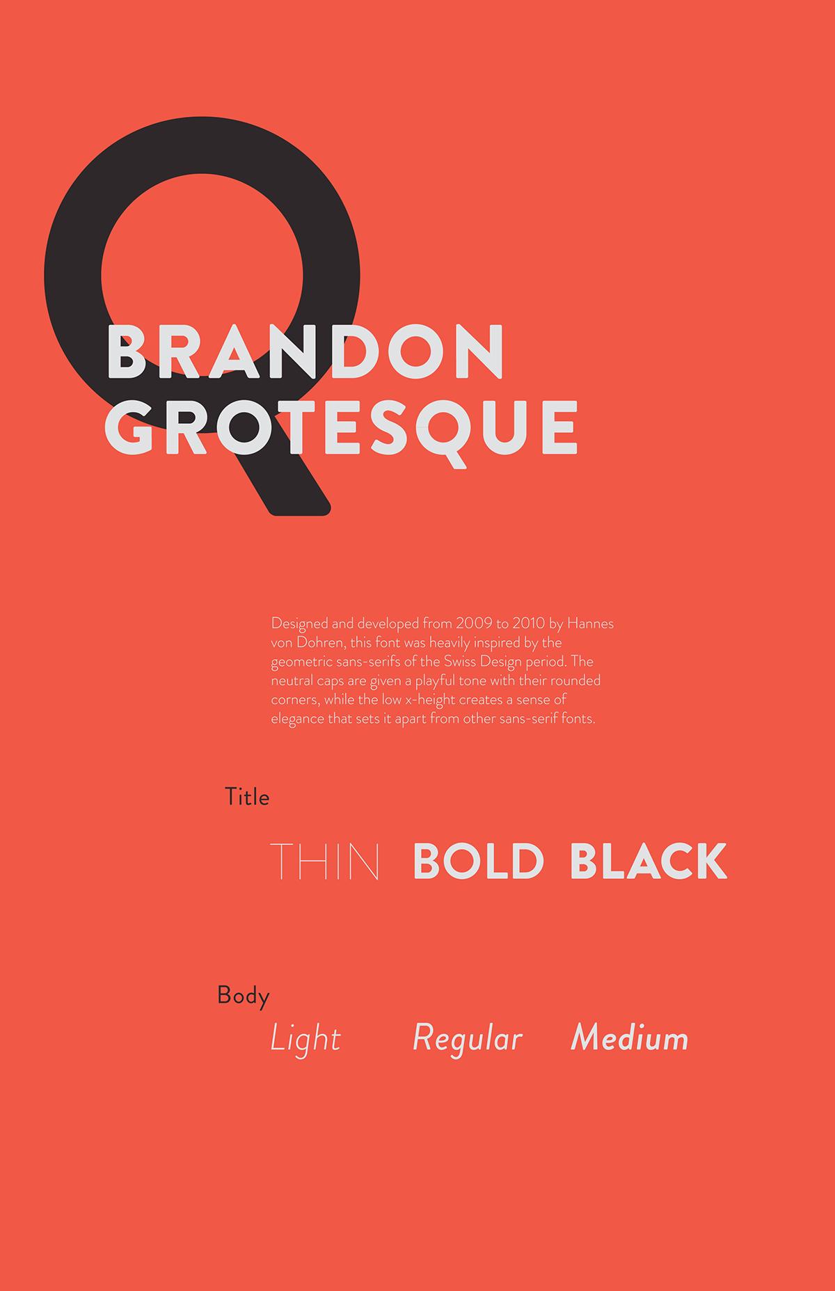 Brandon Grotesque: Type Specimen Poster on Behance