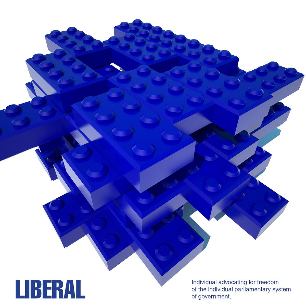 Quadtych Series 3d design 3D illustration Legos LEGO politics conservative LIBERAL