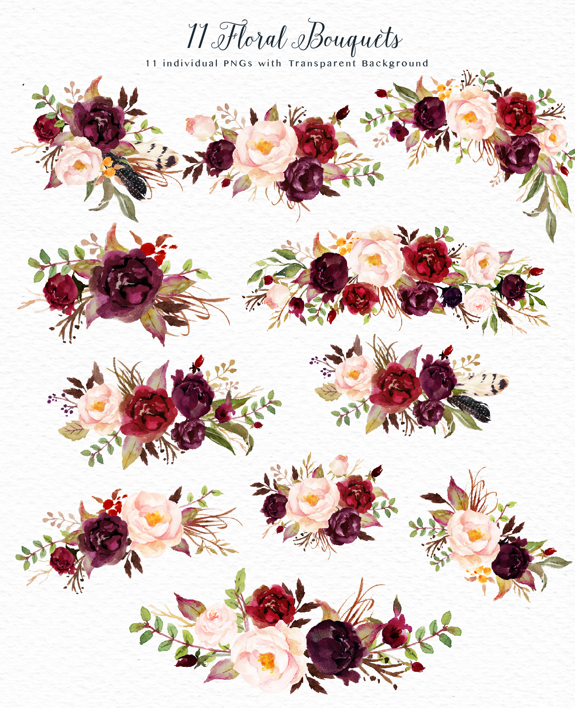 Watercolor Flower Clip Art Marsala On Behance