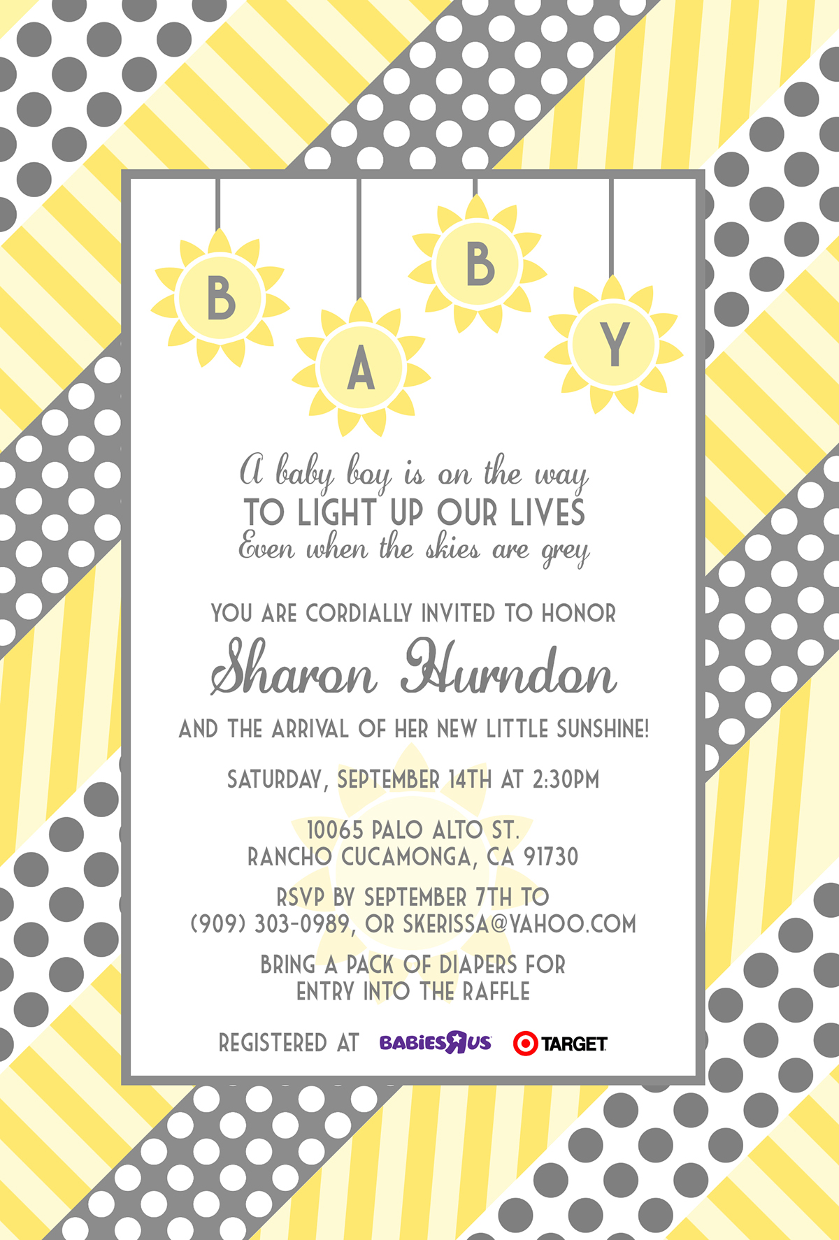 Sharon Baby Shower yellow polka dots grey