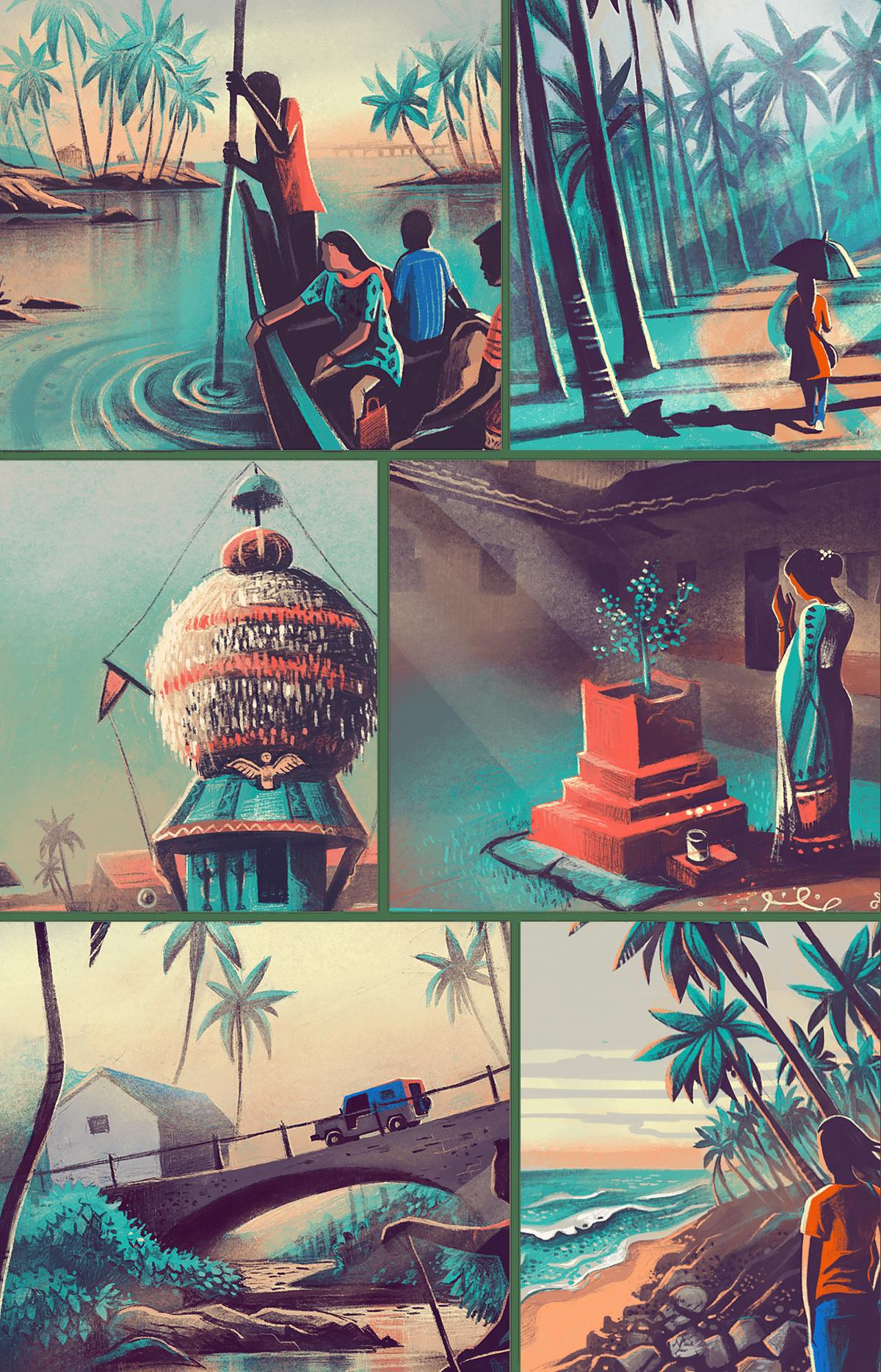 India Coast Travel digital painting Procreate lifestyle Nature heritage culture daily