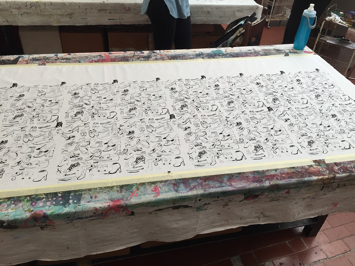 silk screen Serigraphy Drawing  shoes