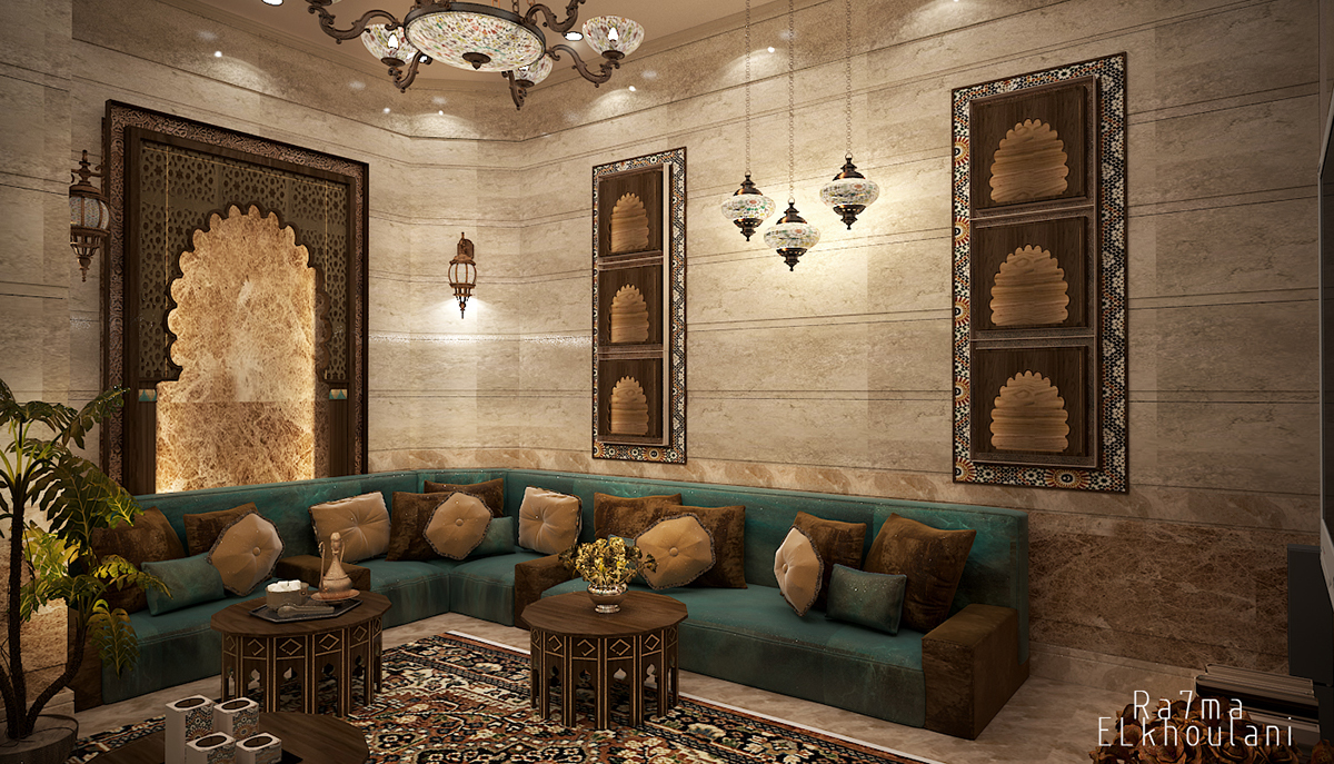 Moroccan sitting room on behance for Moroccan living room furniture 01