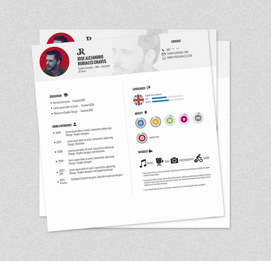 curriculum Vitae download psd free photoshop Work  Illustrator