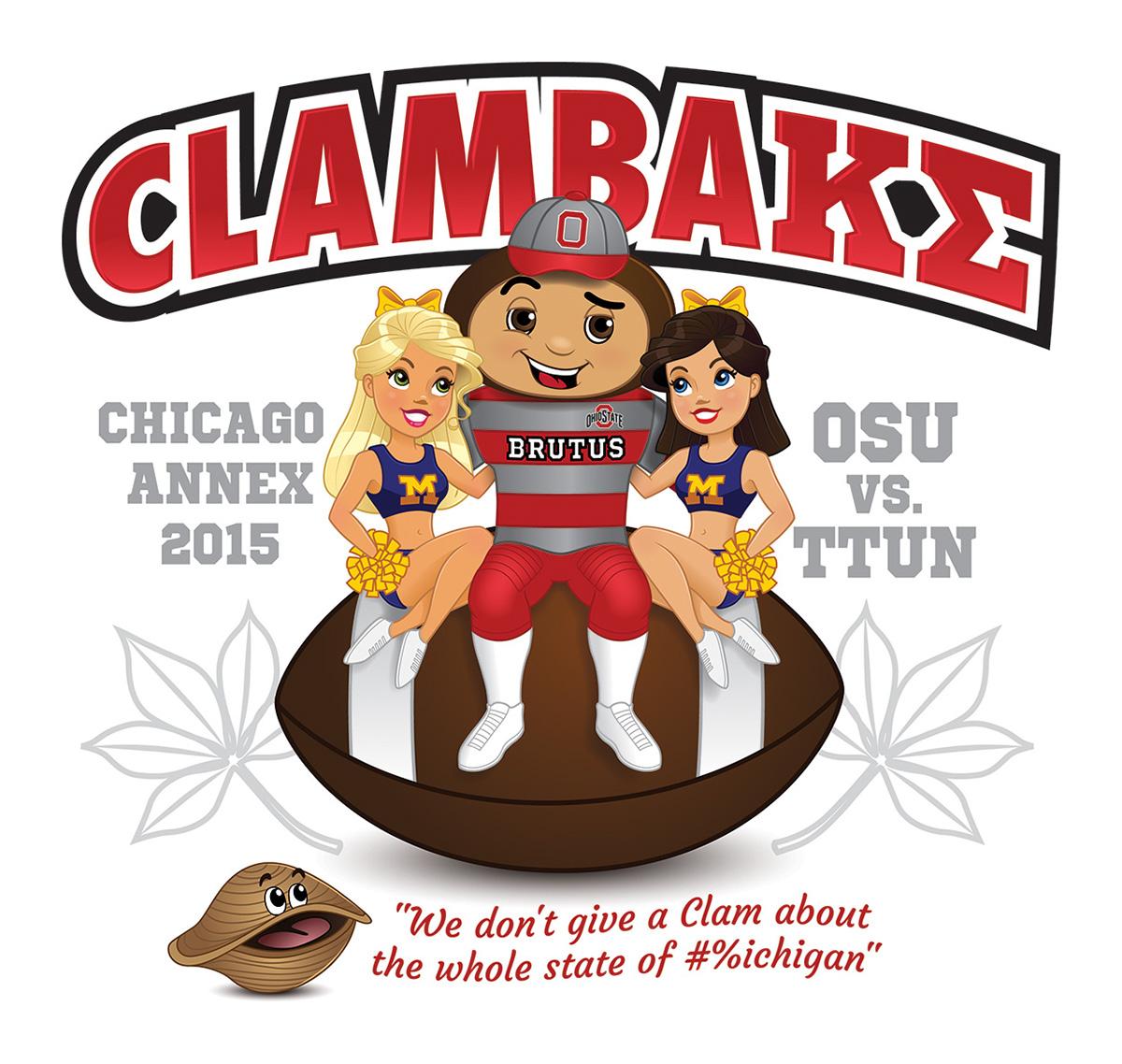 brutus buckeye osu clambake t-shirt football cheerleader