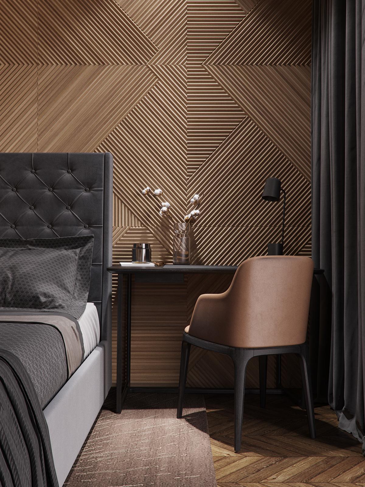 bruine slaapkamer interieur